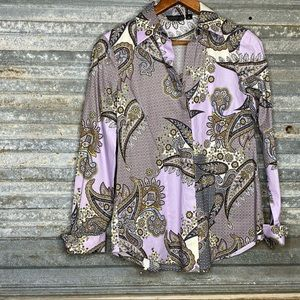 Carlisle collection amethyst paisley button down